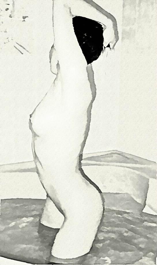Naga kobieta kompie się czarno białe łazienka wanna Sajmon Grafika Graficzek