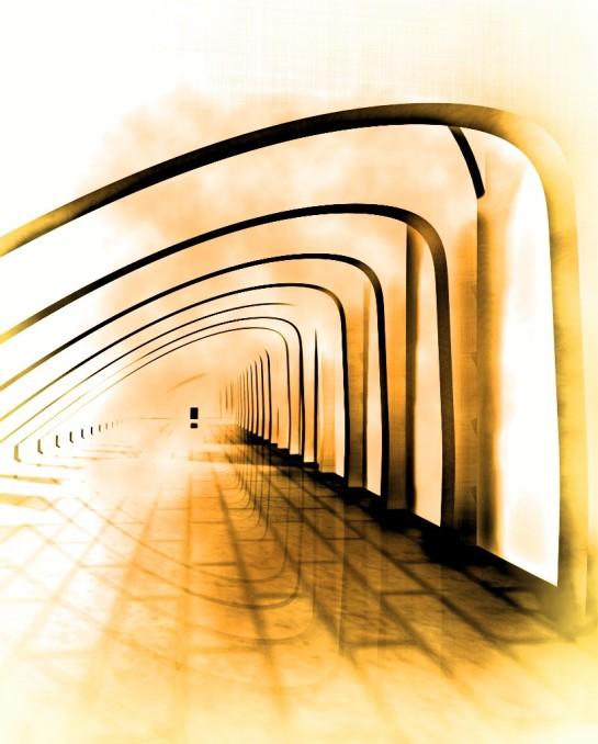 Prosty żółty korytarz Sajmon Grafika Graficzek